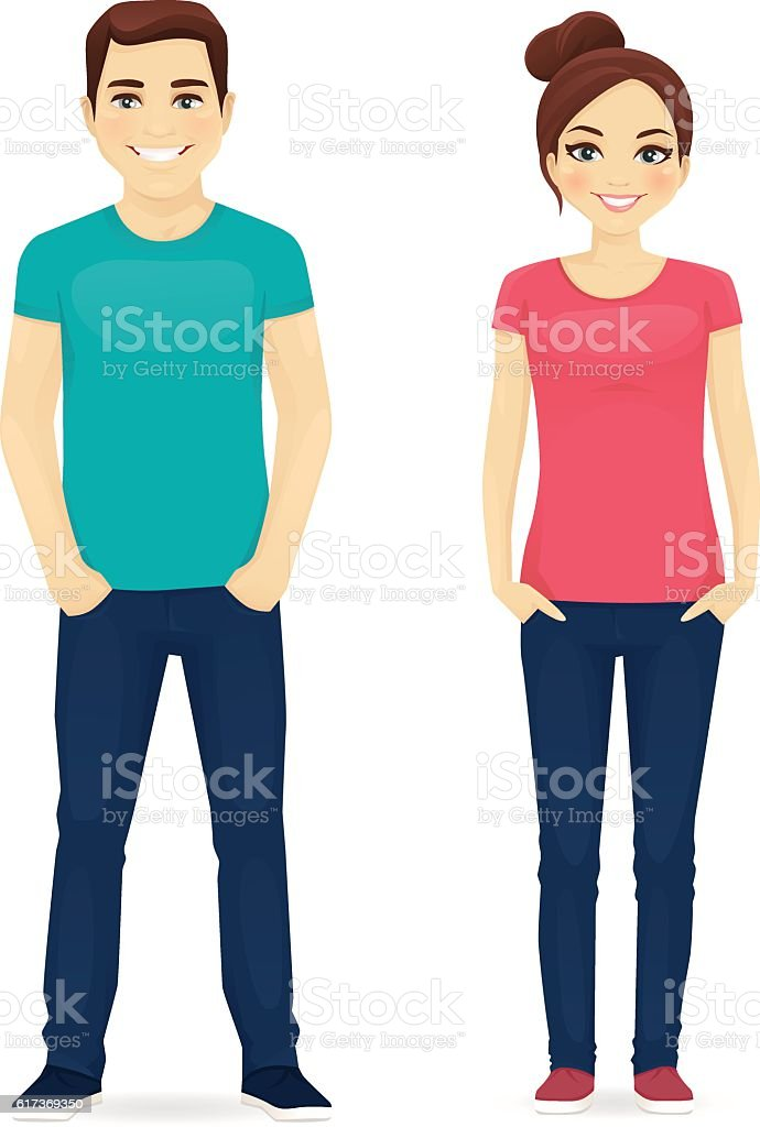 Young people in casual clothes vector art illustration