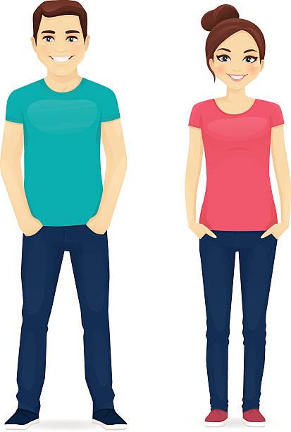 ilustrações de stock, clip art, desenhos animados e ícones de jovens em roupa casuais - homem casual standing sorrir