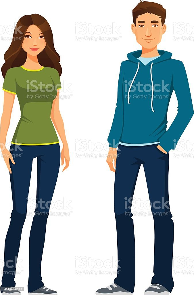 young people in casual outfit vector art illustration