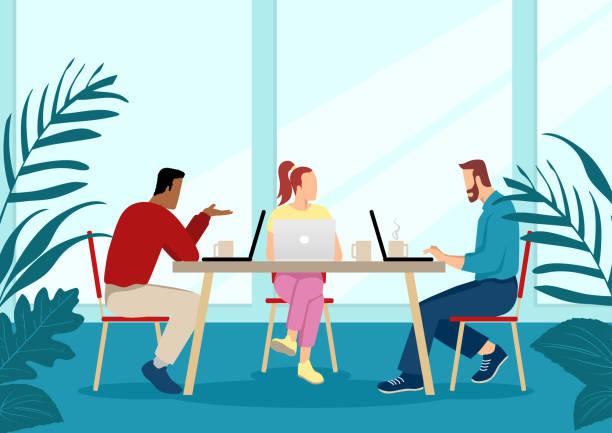 ilustrações, clipart, desenhos animados e ícones de jovens no desgaste ocasional que trabalham junto - working in café