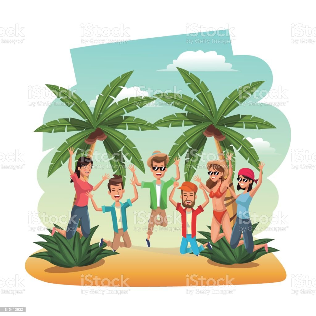 young people in the beach jumping happiness vector art illustration
