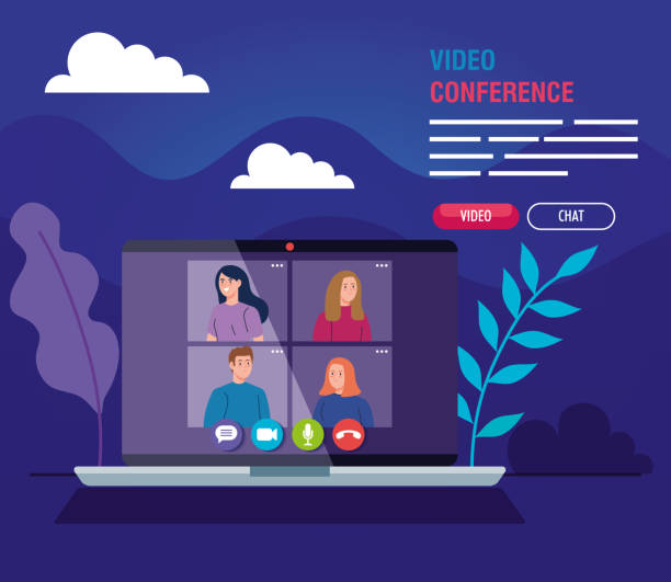 young people in video conference in laptop vector art illustration