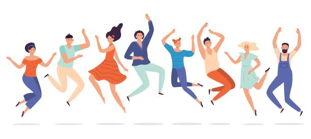 Young people jump. Jumping teenagers group, happy teen laughing students and smiling excited people flat vector illustration vector art illustration