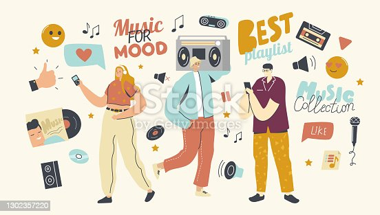 istock Young People Listen Playlist with Sound Composition on Music Player or Mobile Phone Application. Characters Enjoying 1302357220