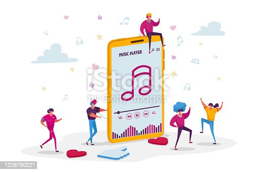 istock Young People Listen Sound Composition on Music Player or Mobile Phone Application. Tiny Male and Female Characters Wearing Headphones Enjoying Dancing and Relaxing. Cartoon People Vector Illustration 1226750221