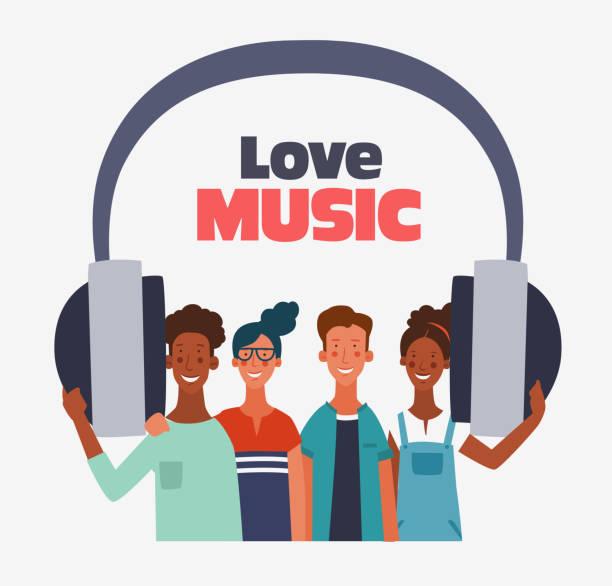 illustrazioni stock, clip art, cartoni animati e icone di tendenza di young people listening to music with headphones - compagni scuola