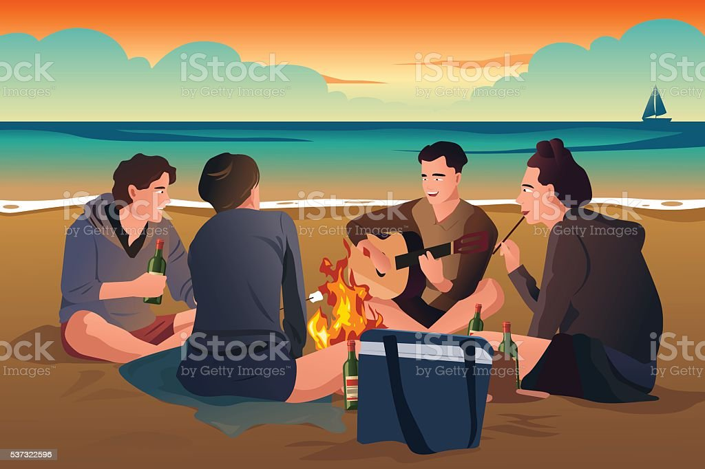 Young People on the Beach vector art illustration