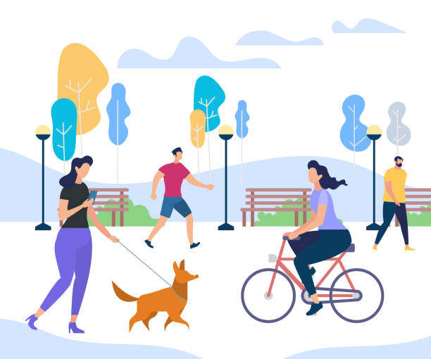 Young People Performing Summer Outdoor Activities Young People Performing Summer Sports and Leisure Outdoor Activities in City Park. Girl Riding Bicycle, Woman Walking with Funny Dog, Men Passing By Trees. Colorful Cartoon Flat Vector Illustration. active lifestyle stock illustrations