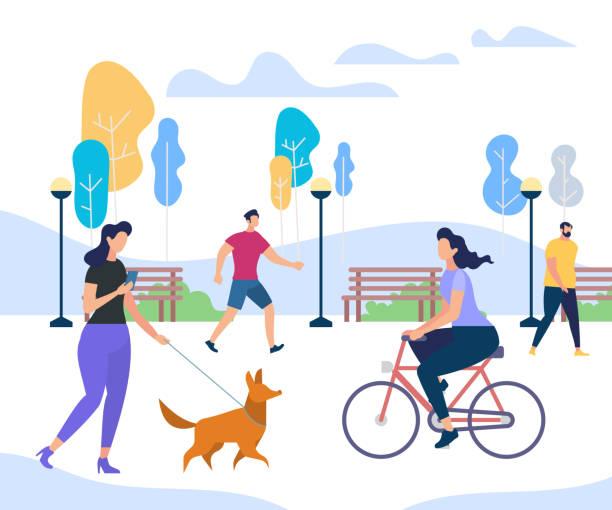illustrazioni stock, clip art, cartoni animati e icone di tendenza di young people performing summer outdoor activities - city walking background