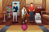 A vector illustration of young people playing bowling together