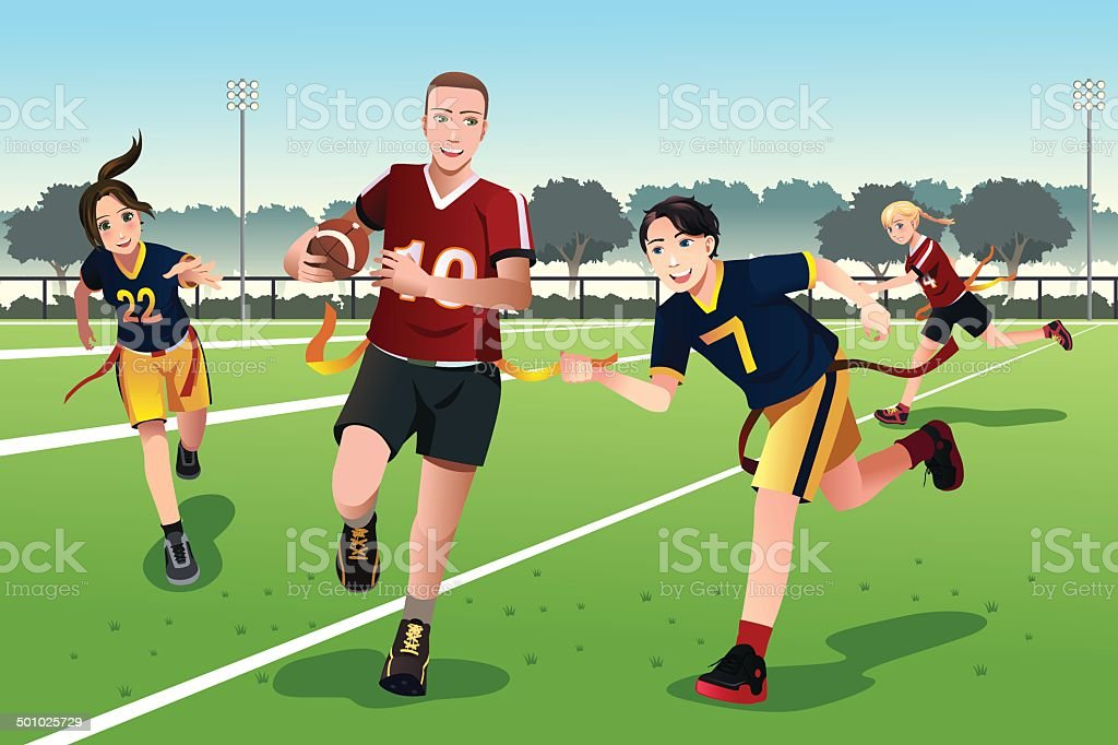 Young people playing flag football vector art illustration