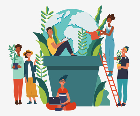 Young people protecting the Earth. Happy Earth day illustration. Eco friendly ecology concept. Nature conservation vector poster