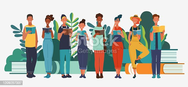 istock Young people reading books in the park. Summer landscape background. Holidays time. Back to school, Study, Learning, Knowledge and Education vector concept 1209257337