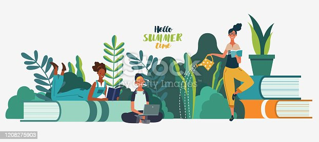 istock Young people reading books. Study, learning knowledge and education vector concept 1208275903