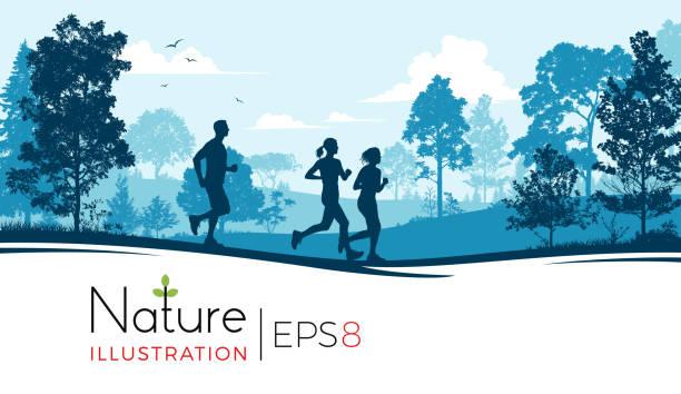 bildbanksillustrationer, clip art samt tecknat material och ikoner med ungdomar som kör i parken - jogging hill