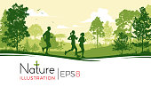 Nature background with many trees and young people jogging.