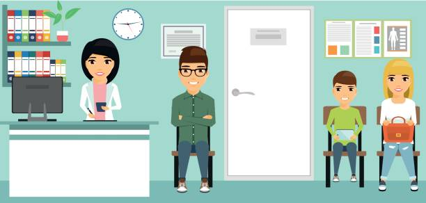 young people sit waiting for the doctor. - receptionist stock illustrations, clip art, cartoons, & icons