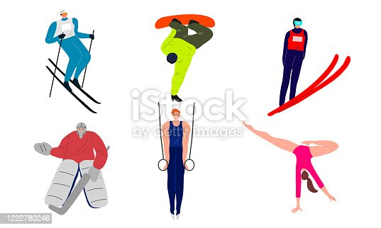 Young people sportsmen in different kinds of sport during training vector illustration