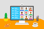 Teleconference concept. Flat vector illustration. Group of young people chatting via video call. Workers stay home and communicate online by computer. Business team talk to each other in group chat