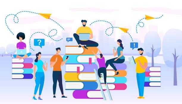 illustrazioni stock, clip art, cartoni animati e icone di tendenza di young people stydying together sit on books heaps - didattica a distanza