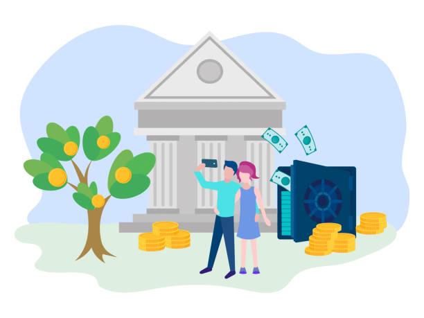 ilustrações de stock, clip art, desenhos animados e ícones de young people take selfies in front of a safe with banknotes and a bank. - bills couple