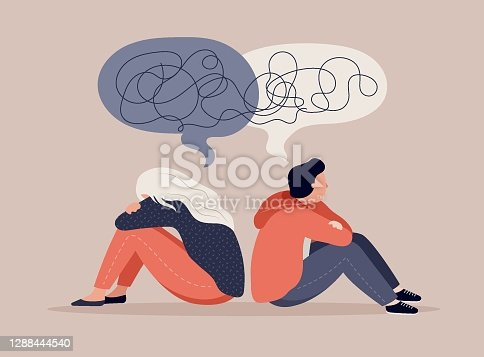 istock Young people, teenagers, couple of girl and boy, sitting back to back, sad and angry on each other. Breaking up, relationship issues, broken heart, separating concept 1288444540