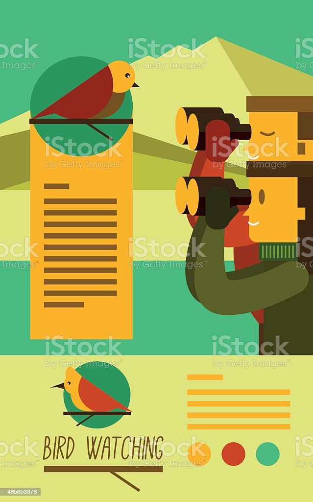 Young people trekking and looking at birds with binoculars. vector art illustration