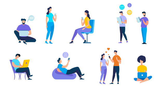 Young People Using Devices on White Background Young People Using Devices Such as Laptop, Smartphone, Tablets. Men and Women Addicted to Gadgets with Social Media Symbols Around. Internet and App Addiction. Cartoon Flat Vector Illustration. online dating stock illustrations