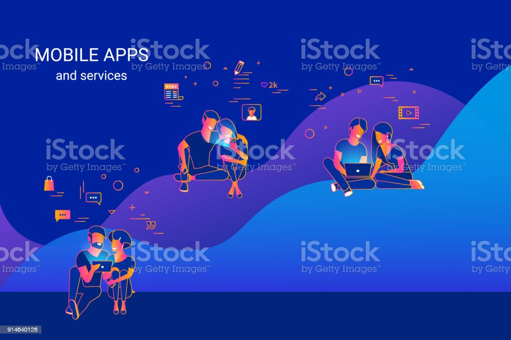 Young people using gadgets such as smartphone, tablet and laptop sitting on graphs and enjoying online services and networks vector art illustration