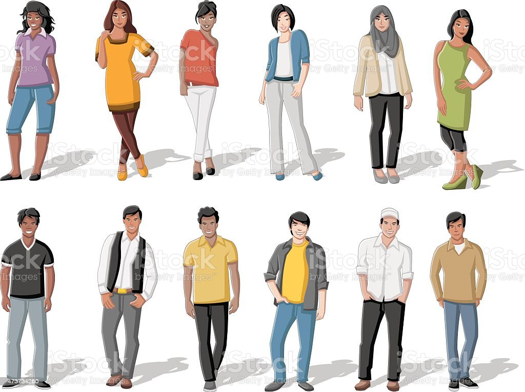 young people vector art illustration