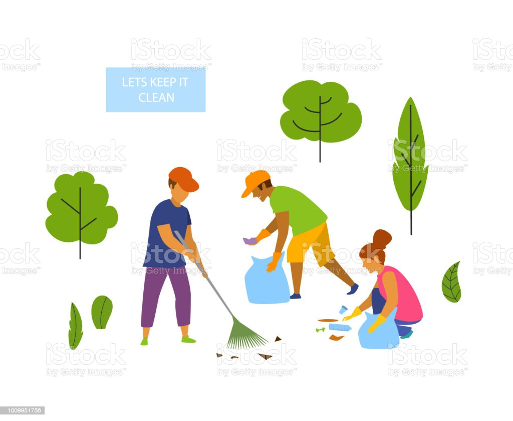 Young People Volunteers Cleaning Up The Park Isolated Vector Graphic