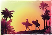 Young people walking along the beach with a palm trees. Vintage style surfer's background. The Size of illustration is 200x300 mm or 2 to 3 proportionally. Eps 10. Horizontal orientation. This file contains transparency effects, gradient fills.