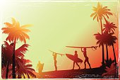 Young people walking along the beach with a palm trees. Vintage style surfer's background.