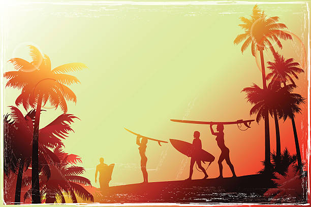 Young people walking along the beach with a palm trees vector art illustration