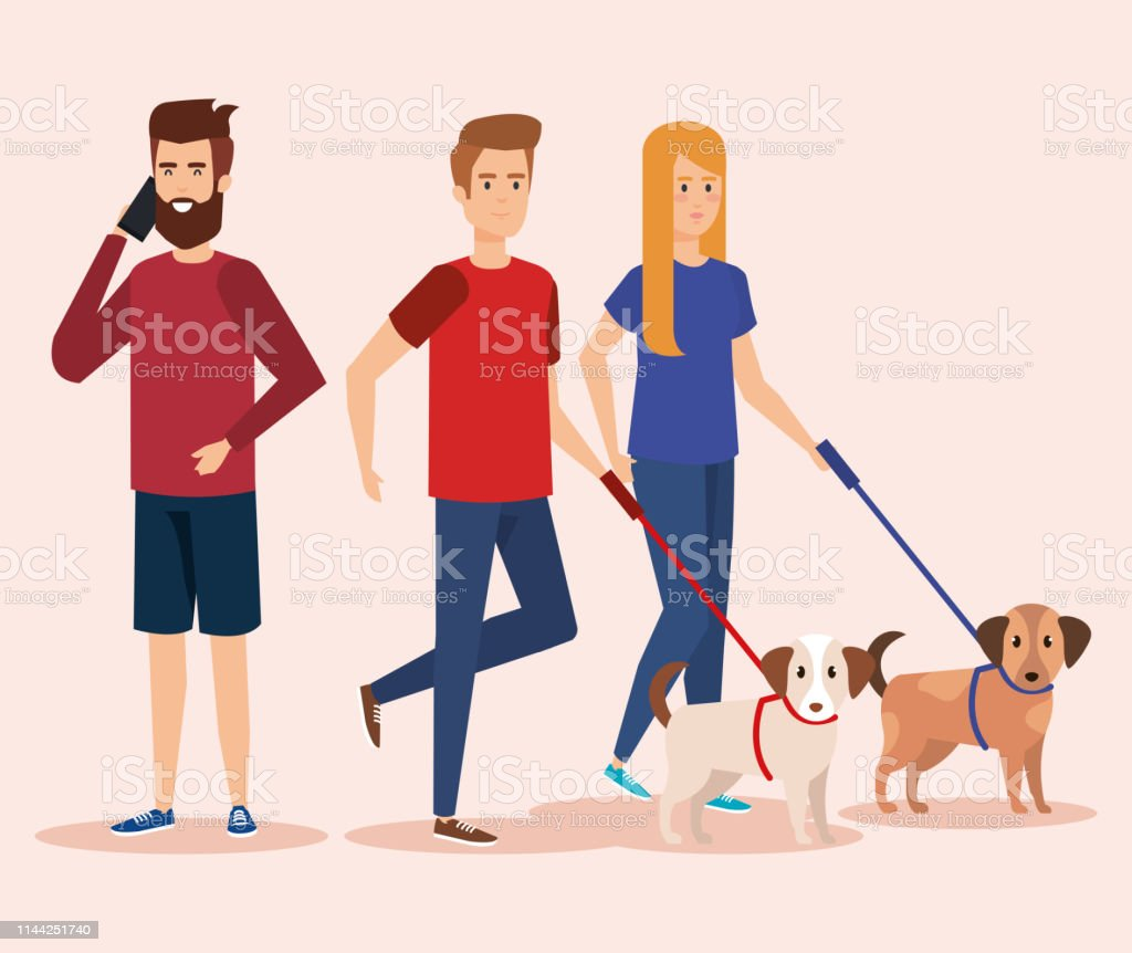 young people with dog and smartphone vector illustration design
