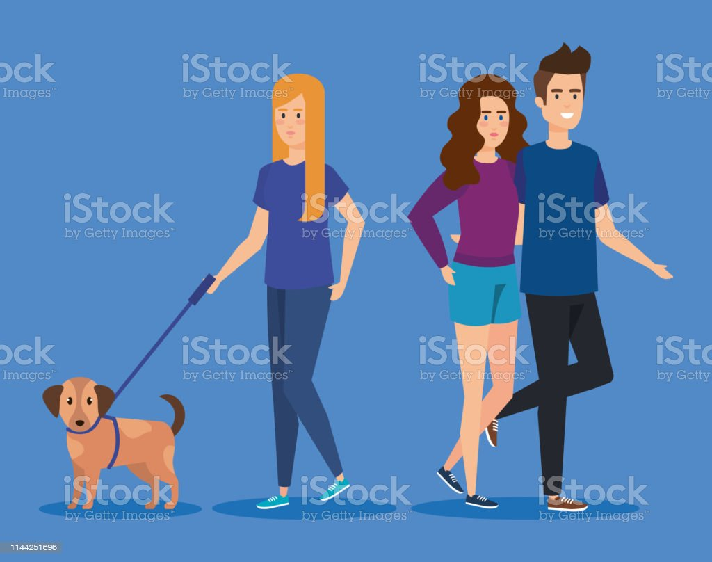young people with dog avatars characters vector illustration design