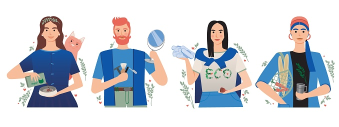Young people with eco friendly style isolated on white background, flat vector stock illustration as zero waste and vegan concept