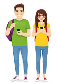 Young people with gadgets and backpacks. Students use mobile phones vector illustration isolated