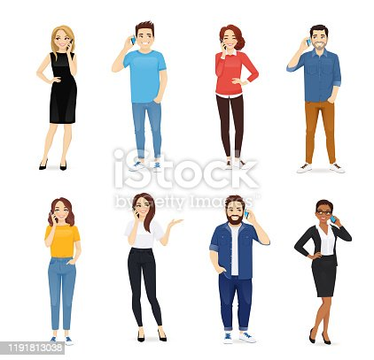 Smiling young people talking on mobile phones. Men and women characters set vector illustration isolated