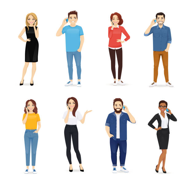 Young people with gadgets Smiling young people talking on mobile phones. Men and women characters set vector illustration isolated cartoon people stock illustrations