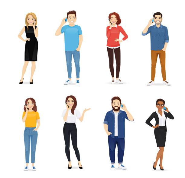 ilustrações de stock, clip art, desenhos animados e ícones de young people with gadgets - homem casual standing sorrir