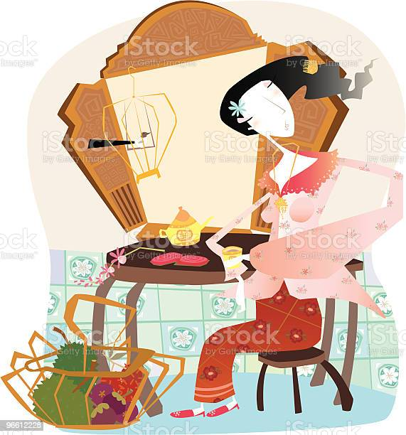 Young Peranakan Woman Drinking Tea Stock Illustration - Download Image Now