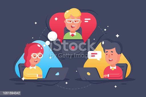 Young person, people remote collaboration. Concept teen in online chat room, skype, web meeting. Vector illustration.