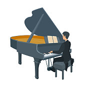Artist performing. Vector cartoon illustration isolated on white background.