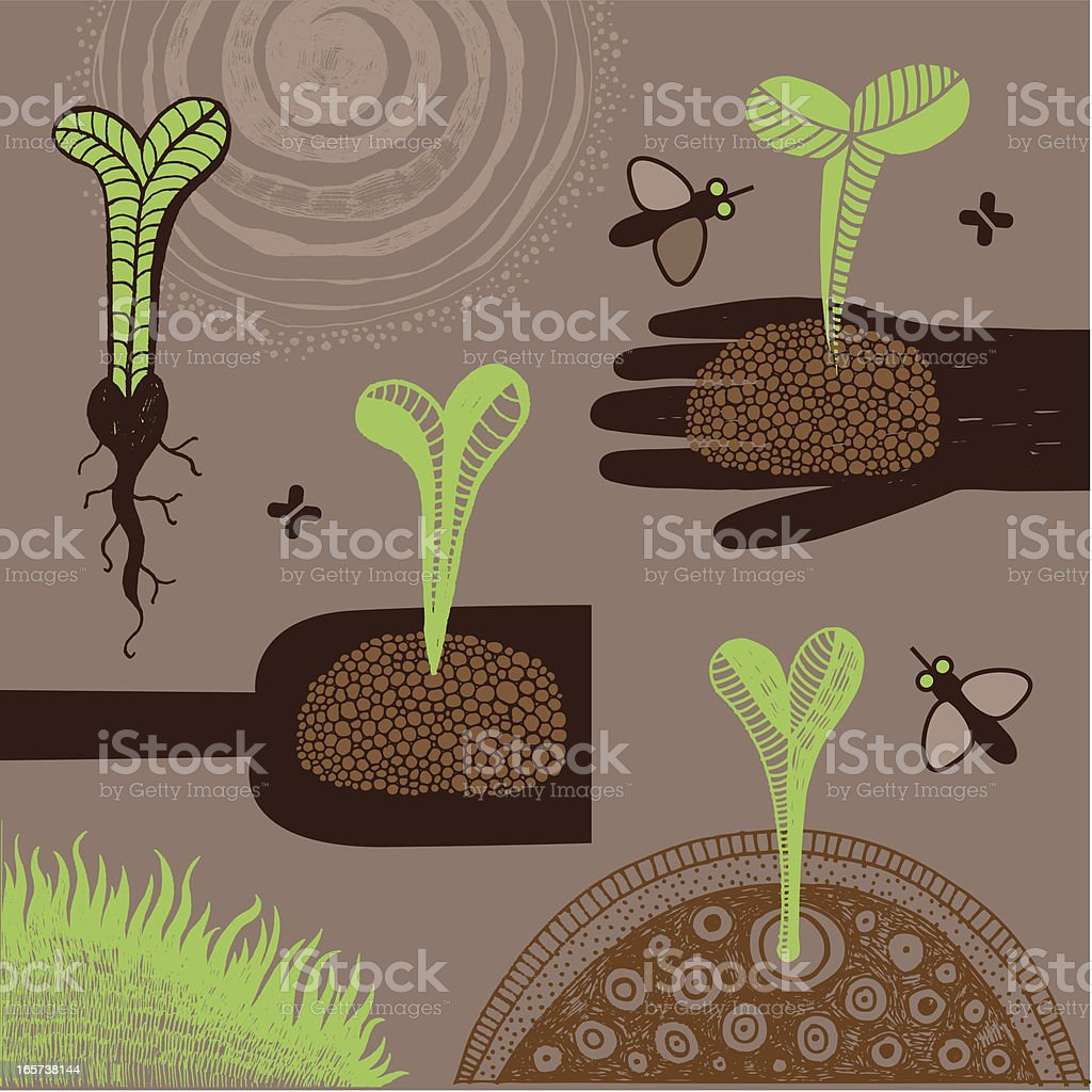Young plants vector art illustration