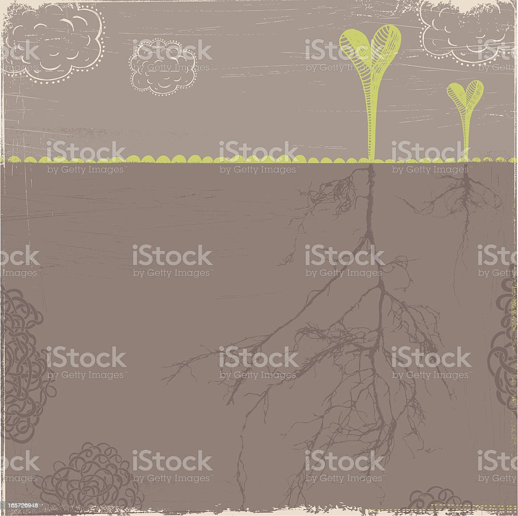 Young plants with strong root system sprouting in spring royalty-free stock vector art