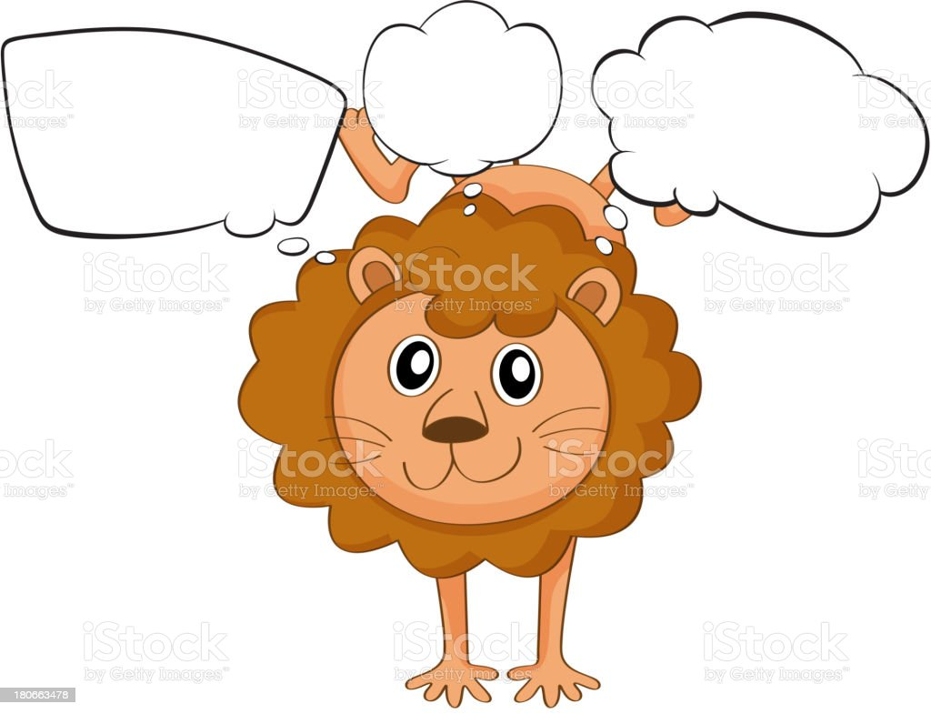 young playful lion with empty callouts royalty-free stock vector art