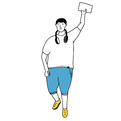 Young plus size man waving hand. Simple line drawing of boy in white tee and blue shorts. Happy student vector illustration
