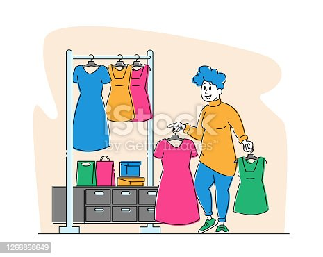 Young Plus Size Woman Choose Fashioned Dress in Store. Fat Girl Stand near Hanger with Clothes Hold Apparel in Hands. Female Shopaholic Character Shopping Spare Time Hobby. Linear Vector Illustration