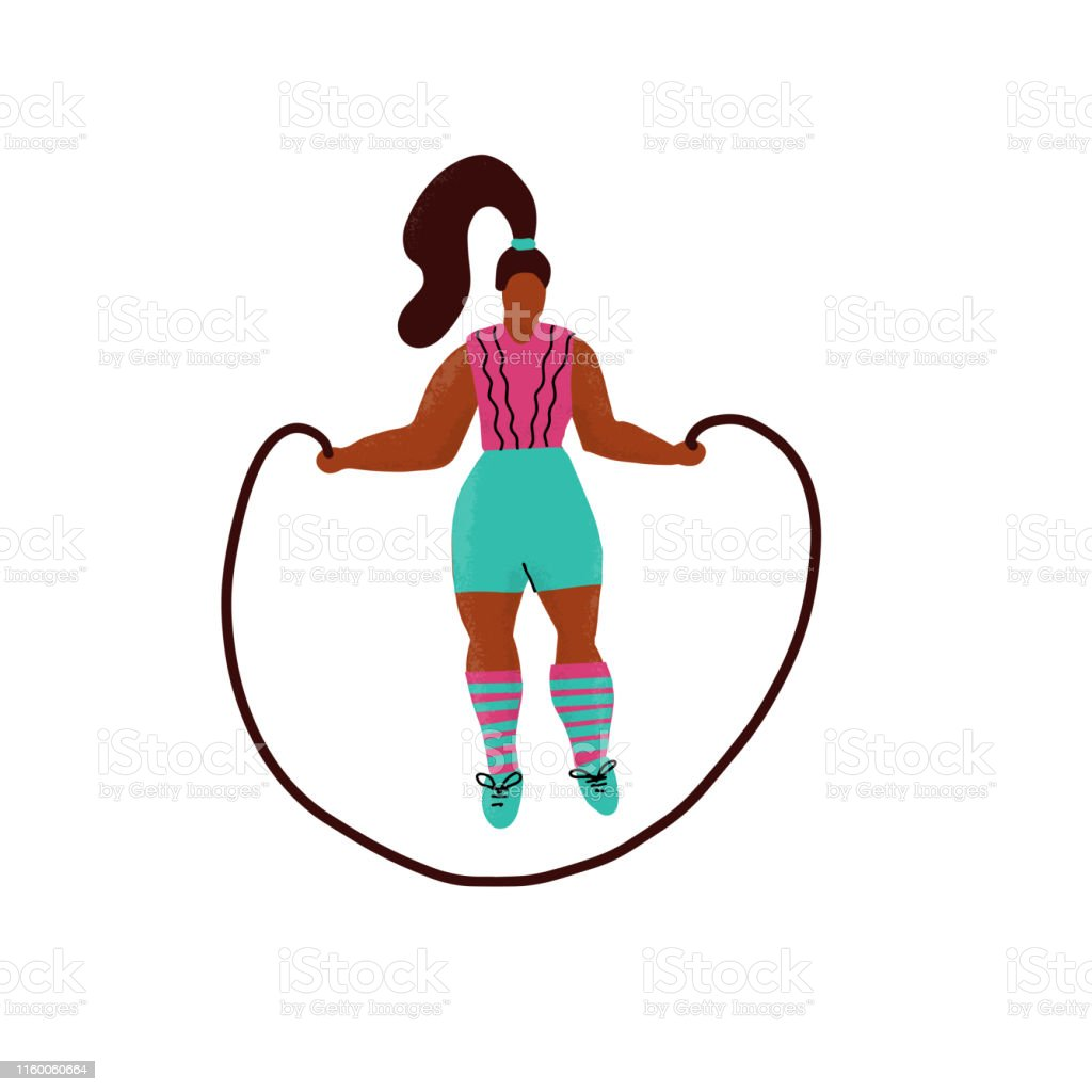 Young Plus Size Woman Jump With Skipping Rope Woman In Sport Clothes Cartoon Character Fitness Exercise With Jumping Rope Hand Drawn Flat Textured Illustration Lady Body Workout Gymnastic Training Stock Illustration